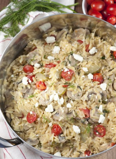 One-Pot Creamy Greek Orzo with Chicken Sausage recipe - nothing says comfort food like a big bowl of creamy pasta packed full of veggies. It has all the Greek flavors you will love!