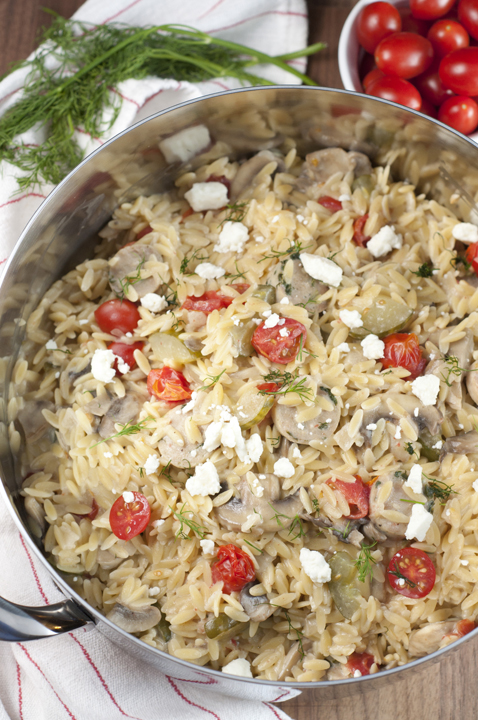 One Pot Creamy Greek Orzo with Chicken Sausage recipe - nothing says comfort food like a big bowl of creamy pasta packed full of veggies. It has all the Greek flavors you will love!