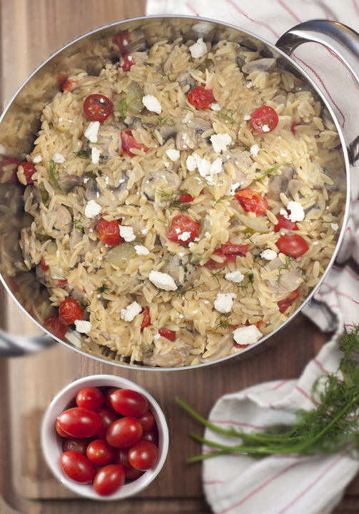 Creamy Greek Orzo with Chicken Sausage recipe made in one pan for an easy weeknight meal!