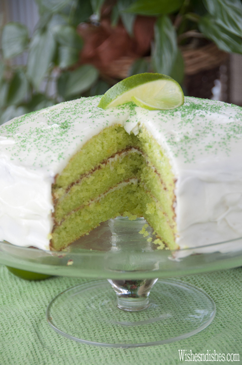 Triple Layer Key Lime Cake recipe takes only 10 minutes to put together, is the perfect balance of sweet and tart, and the perfect green for St. Patrick's Day!