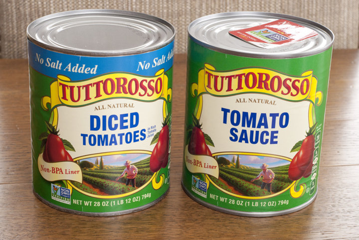 Tuttorosso Diced Tomatoes and tomato sauce in the cans.