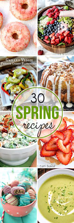 A collection of 30 Amazing Recipes for Spring. This post has everything you could ever want for the season. Grilling recipes, cookies, cheesecake, truffles, cake & more are perfect for these warmer months coming up!