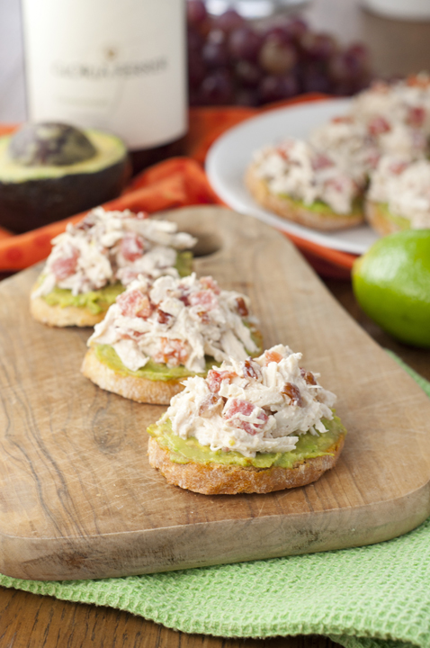 Avocado Chicken Salad Crostini is a quick and healthy appetizer recipe perfect for parties, showers and spring entertaining!