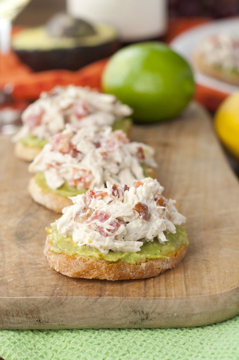 Avocado Chicken Salad Crostini or Bruschetta is a quick and healthy appetizer recipe perfect for parties, showers and summer entertaining!