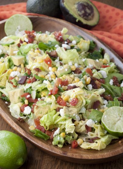 Your favorite sandwich recipe made into a healthy BLT Chopped Salad with Avocado and topped off with a sweet lime vinaigrette dressing!