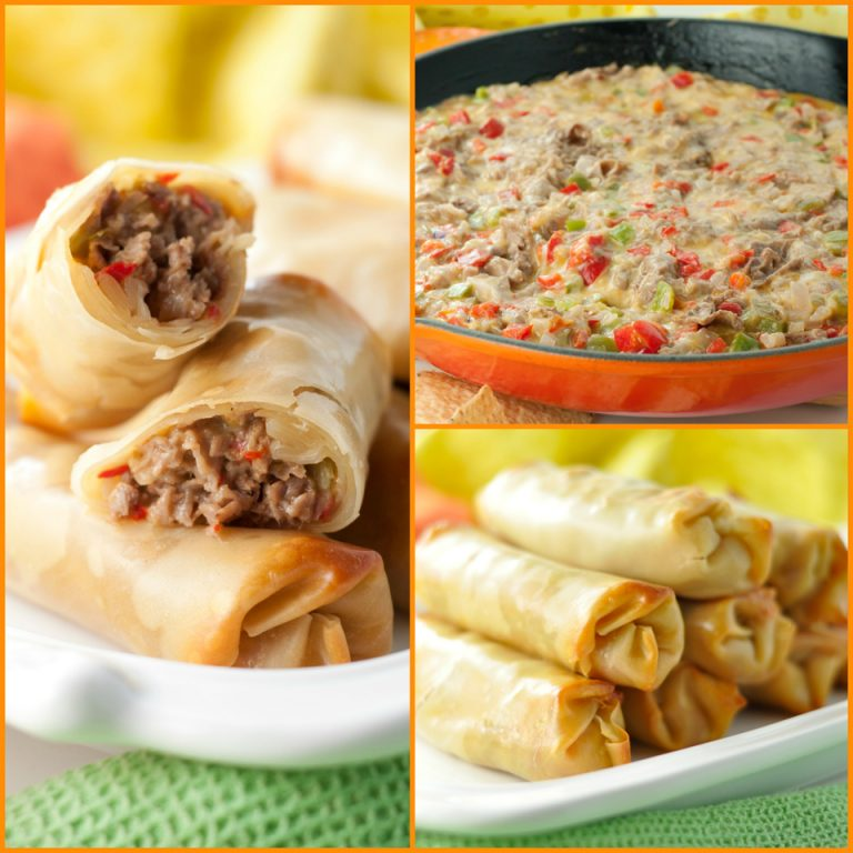 Philly Cheesesteak Baked Egg Rolls recipe with gooey, melted cheese and juicy beef makes for a tasty dinner or party appetizer ready in no time at all!