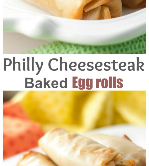 Philly Cheesesteak Baked Egg Rolls recipe make for a tasty dinner or party appetizer ready in no time at all! They are healthier because they are baked, not fried!