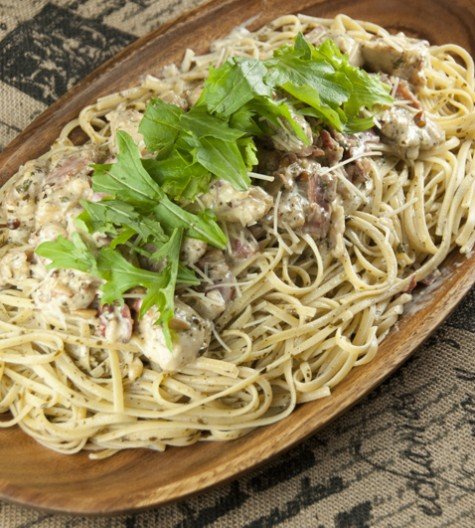 Creamy Chicken Bellagio dinner Cheesecake Factory recipe is chicken and pasta dish with crispy, juicy pan-fried chicken, spaghetti coated in a creamy Parmesan pesto cream sauce and topped with prosciutto and a simple arugula salad!
