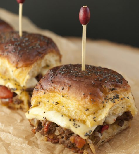 "Jalapeño Cheeseburger Party Buns recipe, also knows as ""sliders"", is a mouth-watering way to feed a crowd quickly and easily with seasoned beef, gooey cheese, and a sweet glaze!"