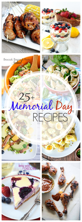 Over 25 Recipes for Memorial Day that are perfect for summer entertaining! Everything you are looking for from burgers, kabobs, salads, desserts, and more. We have you covered for Memorial Day, Labor Day, BBQ's and every day in between!