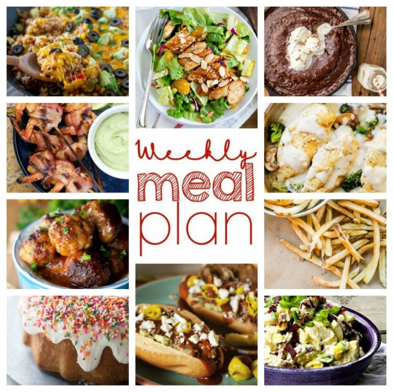 Planning your meals ahead of time saves time, money AND your sanity!  This Weekly Meal Plan {Week 42} comes to your rescue with a complete week of meals: sides, desserts, and main course.