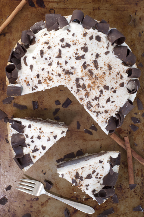 No-Bake Cinnamon French Silk Pie (also known as chocolate pie) recipe uses a homemade cinnamon graham cracker crust OR ready-made pie crust, rich chocolate filling, sturdy, homemade whipped cream, and fancy chocolate curls for a beautiful presentation.