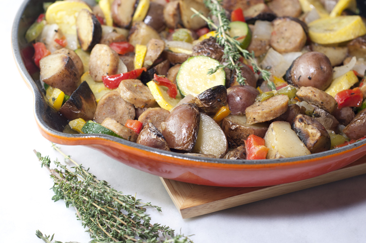 Gluten-free Chicken Sausage and Red Potato Summer Vegetable Skillet full of healthy, delicious in-season goodness.  This is an easy, fresh side dish recipe or dinner idea!