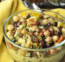 Summer Chickpea Black Bean Salad recipe that is low in fat and high in protein and makes an amazing side dish for your summer picnics or BBQ! You could also serve this alone or pair it with some a toasted baguette or bread to make a great appetizer or snack.