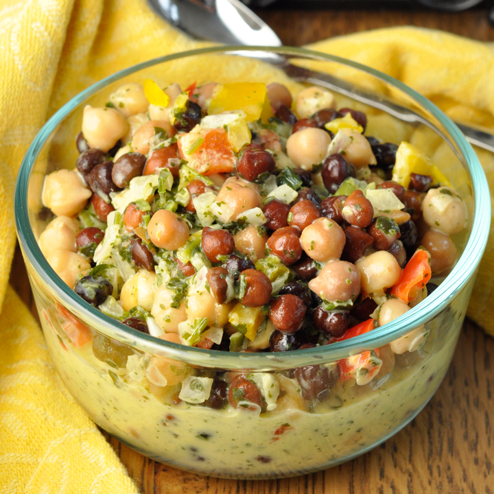 Gluten Free Summer Chickpea Black Bean Salad recipe that is low in fat and high in protein and makes an amazing side dish for your summer picnics or BBQ! It is a great healthy appetizer or snack.