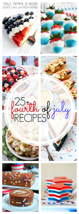 I'm feeling extra patriotic today and wanted to bring you over 25 Perfect 4th of July Recipes that are perfectly festive for the holiday!