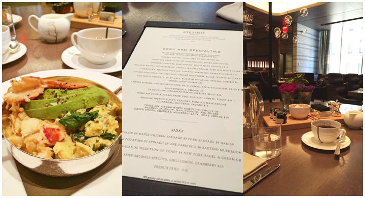 The menu and food for the Back Room Restaurant or 57th Street Restaurant in the Park Hyatt New York