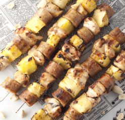 Healthy, Grilled Hawaiian Chicken Pineapple Sausage Kabobs recipe is a delicious, easy and fool-proof way to serve up a complete dinner on the grill for summer holidays!