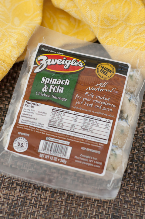 Zweigle's Spinach and Feta gluten free chicken sausage.