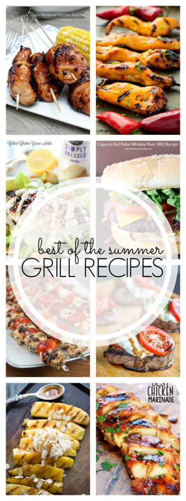 Turn off the oven and check out these Best of Summer Grilling Recipes! This post is jam packed with a variety of tasty grilled main courses, sides, drinks, and dessert for your summer parties!