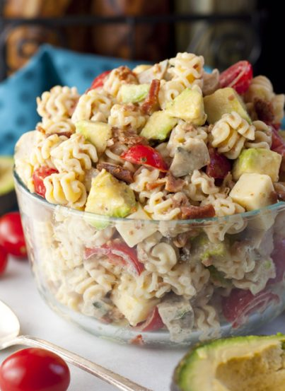 Chicken Club Sausage Pasta Salad recipe has all the flavors of the classic club sandwich in this easy side dish that is ready in a flash for any dinner or picnic! It is somewhat a cross between a pasta salad and a macaroni salad.