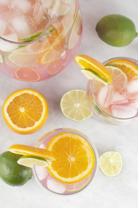 Non-Alcoholic (with option to add alcohol) Sangria Punch recipe is so refreshing and will cool you off on these hot summer days! This drink would be great for holidays or any parties year 'round!