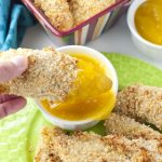 Almond Coconut Crusted Chicken Tenders with Mango Honey Dip