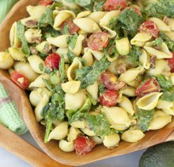 Avocado BLT Pasta Salad recipe is the popular combination of bacon, lettuce and tomato mixed with a creamy avocado dressing in this crowd-pleasing side dish!