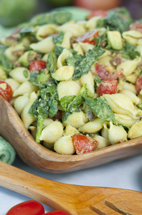 Avocado BLT Pasta Salad recipe is the popular combination of bacon, lettuce and tomato mixed with a creamy avocado dressing in this perfect side dish for Memorial day, Labor, Day or 4th of July picnics!