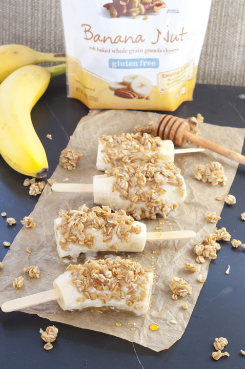 Banana Nut Yogurt Breakfast Banana Pops are a nutritious snack or breakfast idea for adults or kids with bananas, Greek yogurt, granola and drizzled with honey!
