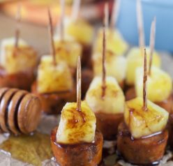 Glazed Chicken Sausage Pineapple Bites are an easy sweet & savory recipe to throw together at the last minute and make for a great party, holiday or game day appetizer!