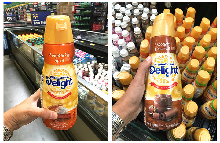 In store photo in Walmart of International Delight Seasonal Creamers.
