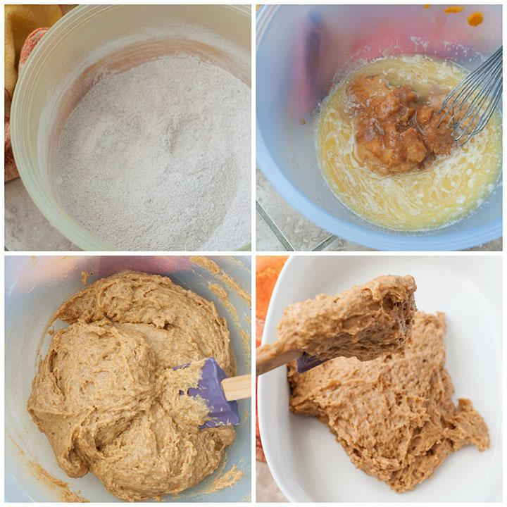 Step by Step photos of making the pumpkin pecan cobbler dessert.