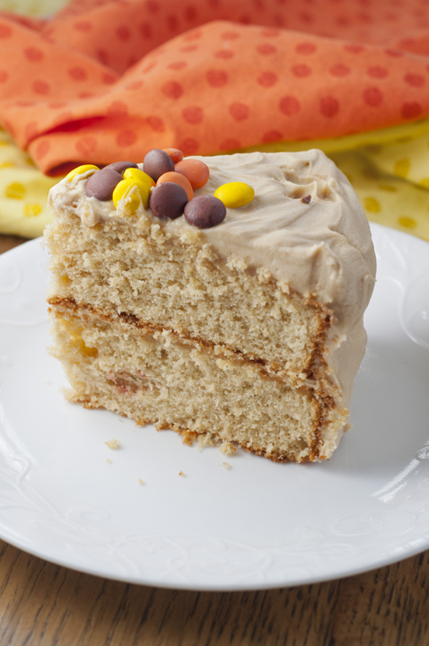 Giant slice of this 5-star dessert recipe for Reese's Double Peanut Butter Layered Cake topped with peanut butter frosting, Reese's Pieces, and Reese's peanut butter cups!