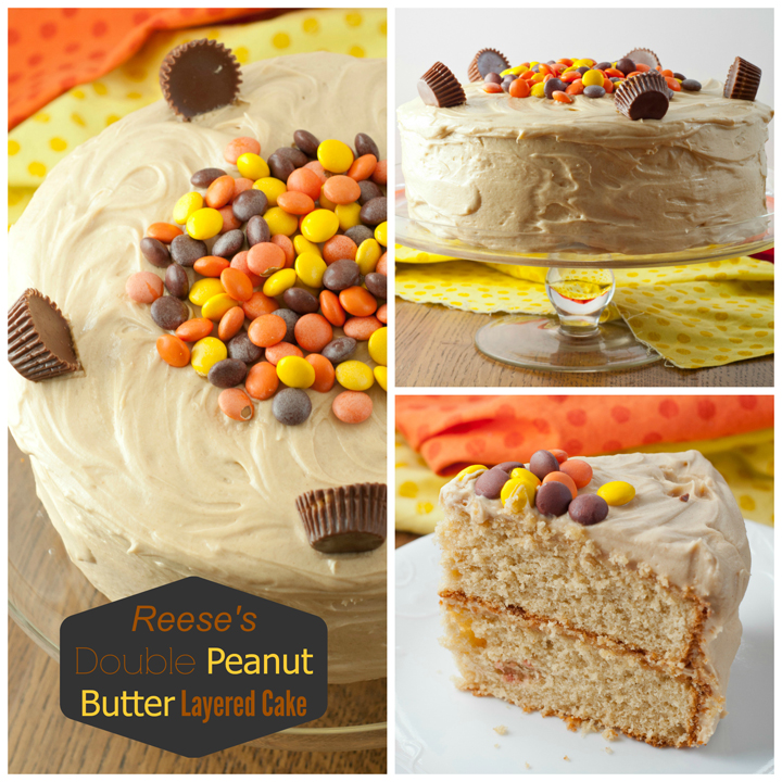 A 5-star dessert recipe for Reese's Double Peanut Butter Layered Cake topped with peanut butter frosting, Reese's Pieces, and Reese's peanut butter cups! Great for any holiday or birthday party!
