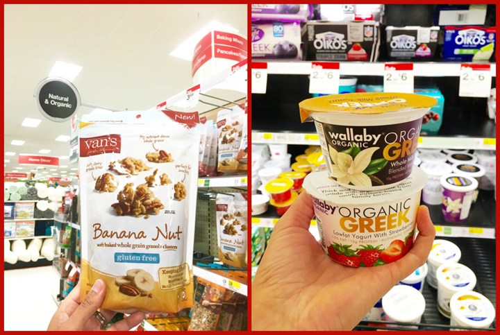Vans Banana Nut Granola and Wallaby organic Greek yogurt found while shopping at Target.