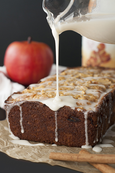 Caramel-Glazed Country Apple Fritter Bread recipe is a moist, sweet, delicious cake-like bread loaded with chunks of fresh apple and swirled with cinnamon sugar. This is the best fall or holiday breakfast and dessert idea!