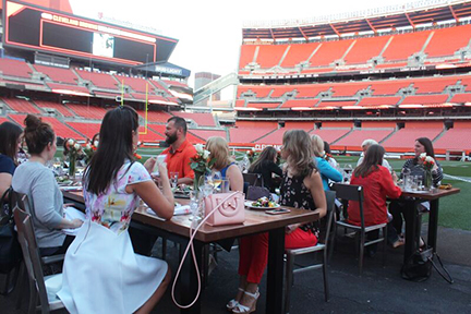 Dinner on the field at Cleveland Browns stadium.