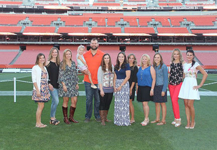 Dinner on the field with Joe Thomas at Cleveland Browns stadium.