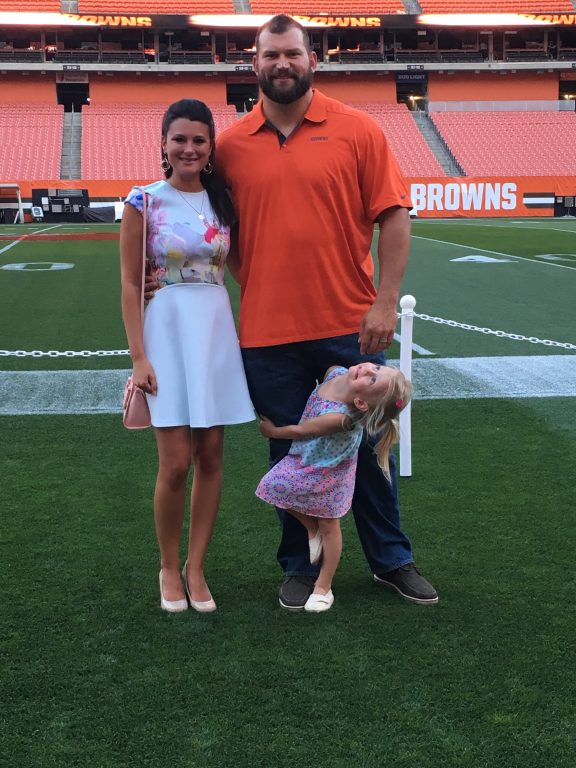 Meeting Joe Thomas of the Cleveland Browns on the field.