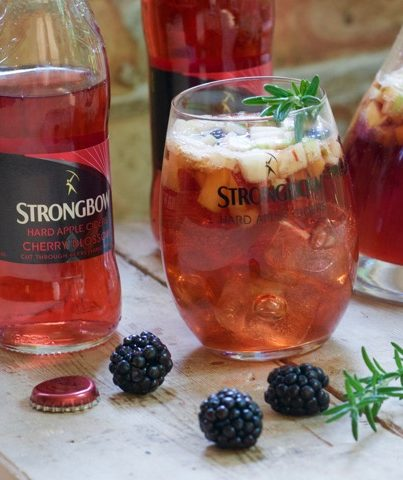 Strongbow Cherry Blossom Cider Sangria has all of the great flavors of blackberries, peaches, and green apple all together in one delicious, refreshing adult drink!
