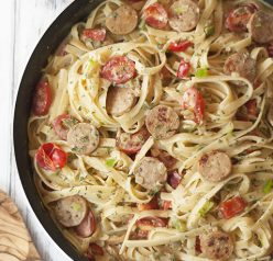 One Pan Sausage Pepper Fettuccine Skillet is an easy weeknight dinner pasta recipe made with chicken sausage that's sure to impress your family and dinner guests!
