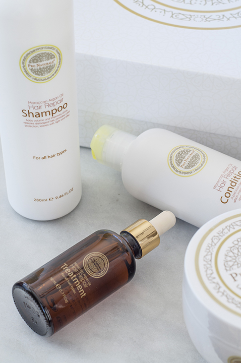Product review of the Moroccan Argan Oil Pro Naturals Hair Repair System that has helped my damaged hair.