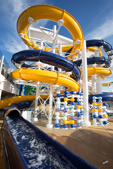 """The Perfect Storm"" water slide on board Harmony of the Seas."