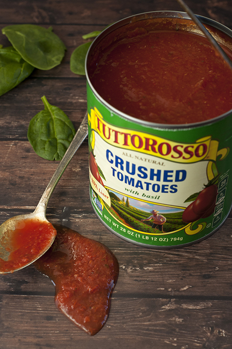 Tuttorosso crushed tomato used to make the marinara sauce for Crock Pot Italian Meatballs.