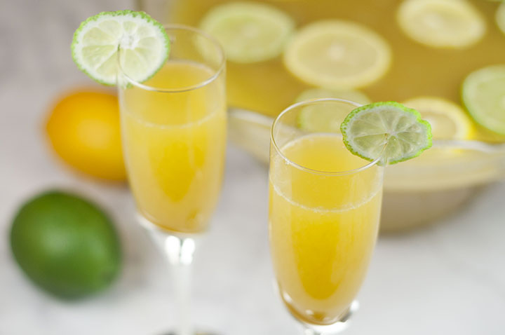This easy, refreshing, all season Lemon-Lime Champagne Party Punch recipe will be a hit at any holiday Christmas party, bridal shower or baby shower, and New Year's Eve! Kid-friendly, non-alcoholic version included!