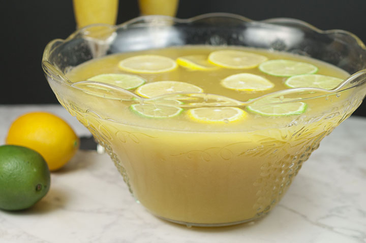 This simple, refreshing Lemon-Lime Champagne Party Punch recipe will be a hit at any holiday party, bridal or baby shower, and New Year's Eve! Non-alcoholic version included!