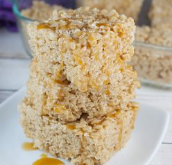 Impress any crowd with these easy and tasty Salted Caramel Browned Butter Rice Krispie Treats. This dessert recipe takes ordinary Krispie Treats to the next level!