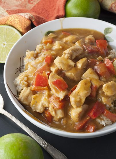 Chicken in Coconut Mango Verde Sauce Thai recipe has a delicious, rich sauce that is the perfect balance of sweet and spicy. It is quick and easy which makes it suitable for a weeknight meal!