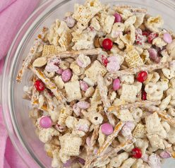Cupid's Crunch Chex Mix is a no-bake, sweet and salty Valentine's day treat loaded with festive M&M's that is easy to make and great for gifts!